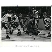 1983 Press Photo Chris Chelios and teammate Bob Brooke-USA Squad hockey team