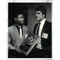1987 Press Photo Chris Williams St Edwards High gets Cleveland Touchdown Award.