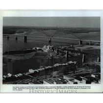 1981 Press Photo Mud Island just off bank of the Mississippi River in Memphis