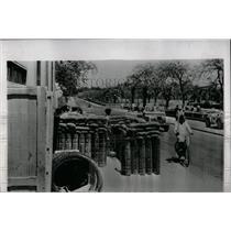 1953 Press Photo Ismailia Police building sandbags - RRX66753
