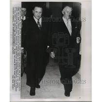 1951 Press Photo Charles Ford and John Croft walk down Senate building corridor