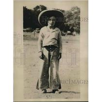 1930 Press Photo Lorraine Graham age 9 trick riding rodeo champion - sba19621