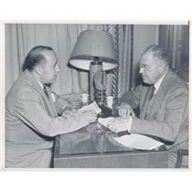 1948 Press Photo DC Denver Post Barnet Nover, Warren Austin US Delegate