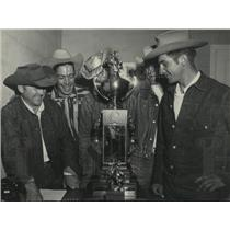 1953 Press Photo Hopalong Cassidy Trophies at stake for the Spokane Rodeo Champ