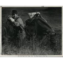 1990 Press Photo Alabama-Dennis Landry takes aim in Civil War re-enactment.