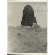 1939 Press Photo Unusual view of snow in front of Buffalo NY City Hall