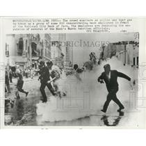 1962 Press Photo Bank demonstrators deterred by Lima, Peru police tear gas bombs