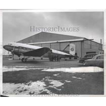 1955 Press Photo DC-3 owned by Outboard Marine Corporation. Mitchell Field.