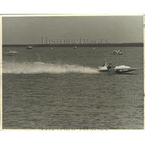 1971 Press Photo Gary Bock, American Power Boat Association Racer at Race