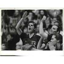 1993 Press Photo Jenny Myszewski, Penn State, and others, at BYU/Penn State game