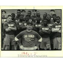 1991 Press Photo Lutcher High School - Coach Tim Detillier and Football Team