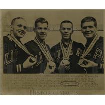 Press Photo American Gold Medal 400 meter freestyle Relay Swim Team in Tokyo