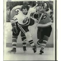 1975 Press Photo Jude Drouin, New York Hockey Player at Game with Philadelphia