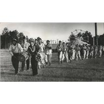1964 Press Photo Indian Drummers lead stickball players onto field - abna11846