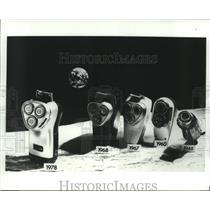 Press Photo Selection of electric razors introduced by Norelco during 30 years