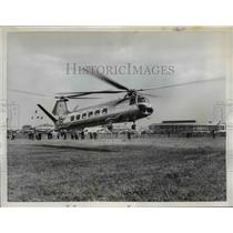 1955 Press Photo Twin Rotor Bristol Helicopter lands at Le Bourget Airfield
