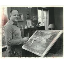 1959 Press Photo Magazine illustrator Earl Sherwan, Belgium, Wisconsin