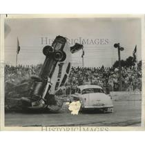 1966 Press Photo Car Crash at Thrilling Auto Racing - sas03719