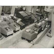 1954 Press Photo Illegal Cash Registers, Adding Machines seized by Phenix City