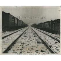 1945 Press Photo snow covered train tracks, Birmingham, Alabama - abna17822