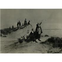 1926 Press Photo Drawing Pilgrims On Shore One Waving - RRW77507