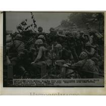 1930 Press Photo Marine Troops put fire on North Korean Barricade - nem52997