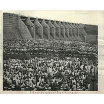 1960 Press Photo Spectators at Maithan Dam dedication,Calcutta, India