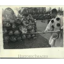 1965 Press Photo Japanese man burns a pile of spirit masks, Japan - mjb98946
