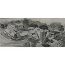 1956 Press Photo drawing of Vestavia Hills Methodist church of tomorrow