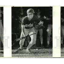 1989 Press Photo Judson High baseball player Greg Vandover attempts to bunt