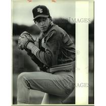 1986 Press Photo Samuel Clemens High baseball pitcher Mickey White - sas07918