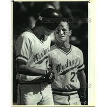 1987 Press Photo Jay High baseball players Bret Jorgensen and Marty Brugler
