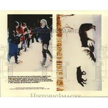 1994 Press Photo Minnesota Winters: (L) snowshoes a must and (R) wolves roam
