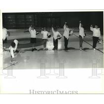 1993 Press Photo St. George Episcapal fencing team student drops his guard.