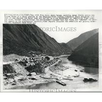 1956 Press Photo Barges carrying trucks across Kinsha River Tibet - mjc05407