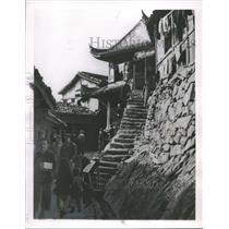 1954 Press Photo Street Scene on Lower Tachen, One of Two Main Islands of Tachen