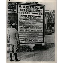 1958 Press Photo Hiram Walker, sign naming bogus booze