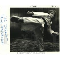 1982 Press Photo Seven-year-old Grant Goings displays his black belt form