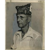 """1854 Press Photo Fred L. Finch Sr. in a hat with """"Squirrel"""" Embroidered on it"""