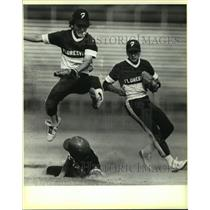 1985 Press Photo Floresville High baseball players in action - sas10295