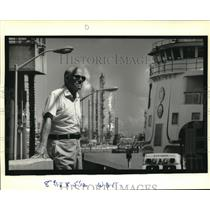 1989 Press Photo Brugiss Greer at Chalmette Ferry across from Tenneco Plant