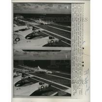 1959 Press Photo Reconnaissance Planes on the Flight Deck of U.S.S Essex