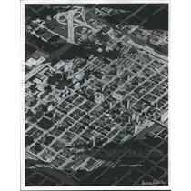 1963 Press Photo Birmingham, Alabama Aerial View, Artists Sketch 1970