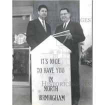 1962 Press Photo Pat Handley, Ed Mollison, North Birmingham Chamber of Commerce