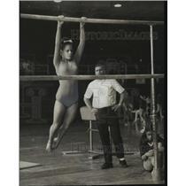 1970 Press Photo Debbie Guy performing Gymnastics at AAU Meet - abns06375