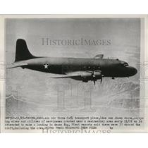 1952 Press Photo Air Force c-54 transport plane crashed into Residential area