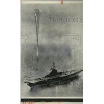 1961 Press Photo The Research balloon leaves Aircraft Carrier Antietam