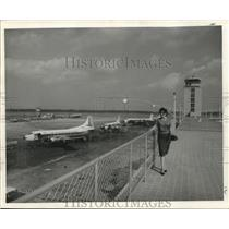 1959 Press Photo Observation tower for viewing incoming & departing airliners
