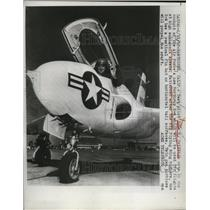1950 Press Photo Pilot John H.Griffith in the cockpit of Air Force Northrup X-4