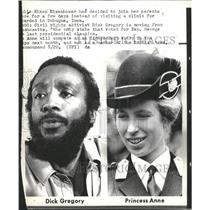 1973 Press Photo Dick Gregory & Princess Anne - RRW28727
